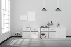 3D rendering: ilustracja Biały wewnętrzny nowożytny kuchenny izbowy projekt z dwa roczników lampy obwieszeniem błyszcząca szara p Obraz Stock