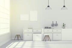 3D rendering: ilustracja Biały wewnętrzny nowożytny kuchenny izbowy projekt z dwa roczników lampy obwieszeniem błyszcząca szara p Fotografia Royalty Free