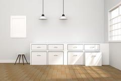 3D rendering: ilustracja Biały wewnętrzny nowożytny kuchenny izbowy projekt z dwa roczników lampy obwieszeniem drewniane podłogi  Zdjęcia Stock