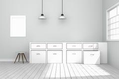 3D rendering: ilustracja Biały wewnętrzny nowożytny kuchenny izbowy projekt z dwa roczników lampy obwieszeniem drewniane podłogi  Obrazy Royalty Free