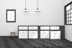 3D rendering: ilustracja czarny i biały wewnętrzny nowożytny kuchenny izbowy projekt z dwa roczników lampy obwieszeniem drewniane Zdjęcie Royalty Free