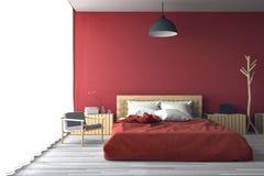 3D rendering: ilustracja duża przestronna sypialnia w miękkim lekkim kolorze Duży wygodny dwoisty łóżko w eleganckiej klasycznej  Zdjęcia Royalty Free