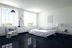 3D rendering: ilustracja duża przestronna sypialnia w miękkim lekkim kolorze duży wygodny dwoisty łóżko w eleganckiej nowożytnej  Fotografia Royalty Free