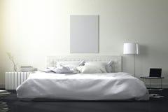 3D rendering: ilustracja duża przestronna sypialnia w miękkim lekkim kolorze duży wygodny dwoisty łóżko w eleganckiej sypialni Zdjęcie Royalty Free