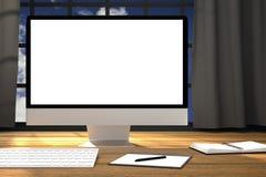 3D rendering: ilustracja miejsca pracy mockup PECETA moniter na drewnianym stole Pracująca powierzchnia komputerowy biuro Zdjęcia Royalty Free