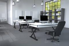 3D rendering: ilustracja nowożytnego wewnętrznego Kreatywnie projektanta biurowy desktop z peceta komputerem komputerowi labs map Fotografia Stock