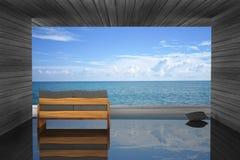 3D rendering: ilustracja nowożytnej drewnianej kanapy wewnętrzna dekoracja przy balkonowym plenerowym drewnianym pokoju stylem z  Fotografia Royalty Free