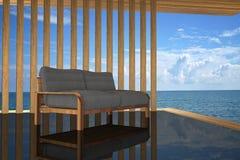 3D rendering: ilustracja nowożytnej drewnianej kanapy wewnętrzna dekoracja przy balkonowym plenerowym drewnianym pokoju stylem z  Obraz Royalty Free