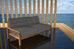 3D rendering: ilustracja nowożytnej drewnianej kanapy wewnętrzna dekoracja przy balkonowym plenerowym drewnianym pokoju stylem z  Zdjęcia Stock