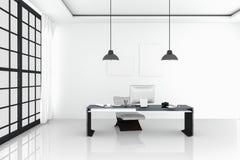 3D rendering: ilustracja nowożytny wewnętrzny biały biuro Kreatywnie projektanta desktop z peceta komputerem, klawiatura, kamera, Fotografia Royalty Free