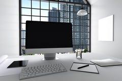 3D rendering: ilustracja nowożytny wewnętrzny biały biuro Kreatywnie projektanta desktop z peceta komputerem, klawiatura, kamera, Zdjęcie Stock