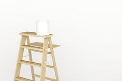 3D rendering: ilustracja remontowa drabina dla malarza ścienny obraz dekoracja twój domowy pojęcie nowy twój domowy pojęcie ilustracja wektor