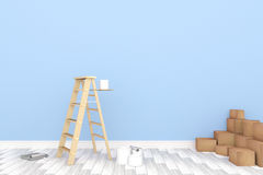 3D rendering: ilustracja remontowa drabina dla malarza ścienny obraz dekoracja twój domowy pojęcie nowy twój domowy pojęcie royalty ilustracja