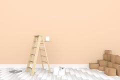 3D rendering: ilustracja remontowa drabina dla malarza ścienny obraz dekoracja twój domowy pojęcie nowy twój domowy pojęcie Obraz Stock