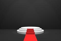 3D rendering: ilustracja scena z czerwonym chodnikiem dla nagrody ceremonii Biały round podium pierwsze miejsce 3 kroka opróżniaj ilustracji