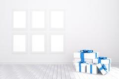 3D rendering: ilustracja sześć bielu obrazka ramy obwieszeń podłogowy ścienny biały drewniany przestrzeń dla twój obrazka i tekst Obraz Royalty Free