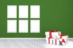 3D rendering: ilustracja sześć bielu obrazka ramy obwieszeń w pustym pokoju zielona ściana i drewniana podłoga twój tekst kosmicz Zdjęcie Royalty Free