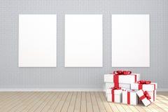 3D rendering: ilustracja trzy biel plakatowy obwieszenie na ścianie w pustym pokoju Ściana z cegieł i drewniana podłoga przestrze Fotografia Stock