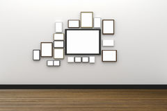 3D rendering: ilustracja wiele rozmiar pusty fotografii ramy obwieszenie na biel ściany wnętrzu z drewnianą podłoga, ścinek ścież ilustracja wektor