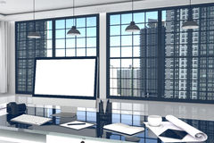 3D rendering: ilustracja zamknięta Kreatywnie projektanta biurowy desktop z pustym komputerem up, klawiatura, kamera, lampa Fotografia Royalty Free