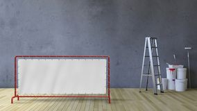 3Ds blank wall and painting tools Royalty Free Stock Photos