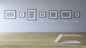 3d rendering image of gallery room with blank photo frame Royalty Free Stock Images