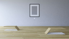 3d rendering image of gallery room with blank photo frame Royalty Free Stock Photo