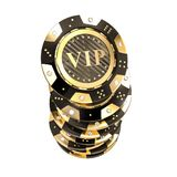 Golden vip casino chip 3d. 3d rendering image of golden and carbon vip chip with diamond royalty free illustration