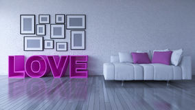 3d rendering image of interior design living room. Pink heart pillow on sofa set and place on the wooden floor which have many photo frames on the brick wall as Royalty Free Stock Photos