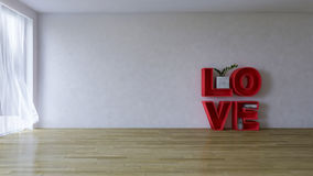 3d rendering image of interior design living room. The red word ` LOVE ` on the wooden floor which have cracked concrete wall as background. Valentine day Royalty Free Stock Photos