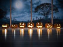 3d rendering image of pumpkin head in the dark room Stock Photo