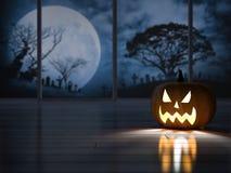 3d rendering image of pumpkin head in the dark room Stock Photos
