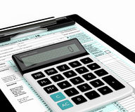 3d rendering of individual income tax return form and calculator Royalty Free Stock Photography