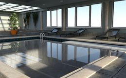 3D Rendering Indoor Pool stock photo