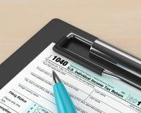 3d rendering 1040 indywidualnego podatku dochodowego powrotnych form royalty ilustracja