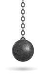3d rendering of an ink black wrecking ball hanging from a chain isolated on white background. Stock Images