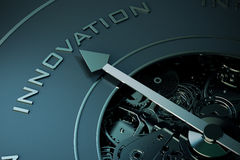 3D Rendering of Innovation compass. 3D Rendering of Compass arrow pointing to the word innovation Royalty Free Stock Photos