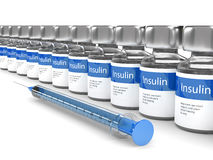 3d rendering of insulin vials  and syringe isolated over white Stock Images