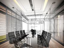 3d rendering of interior conference room, royalty free illustration
