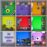 3d rendering of interior design of apartments in the cube Royalty Free Stock Photo