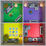 3d rendering of interior design of apartments in the cube stock illustration