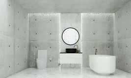 The minimal bathroom interior design and concrete wall pattern background and sea view. 3d rendering interior design of bathroom Royalty Free Stock Image