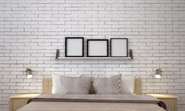 The modern minimal luxury bedroom interior design and white brick wall pattern background Royalty Free Stock Photo