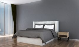 The bedroom interior design and wall pattern background. 3d rendering interior design of bedroom Stock Photos