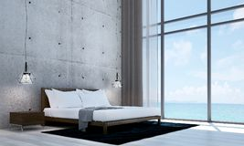 The modern bedroom interior design and white concrete wall texture background. 3d rendering interior design concept idea of bed room Stock Images