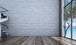 The empty living room interior design and white brick wall texture background. 3d rendering interior design concept idea of  living room Royalty Free Stock Photos