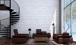 The modern lounge and living room interior design and brick wall texture background and sea view. 3d rendering interior design concept idea of living room Royalty Free Stock Photos