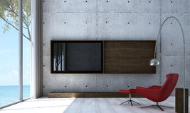 The interior design idea of modern living room and concrete wall pattern and LCD tv background royalty free illustration