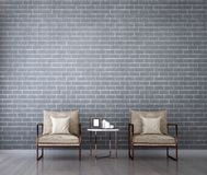 The interiors design idea of luxury lounge chair and brick wall background Royalty Free Stock Photos
