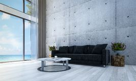 The lounge hall and sofa living room interior design and concrete wall pattern background and sea view. 3d rendering interior design concept idea of  lounge and Royalty Free Stock Photos